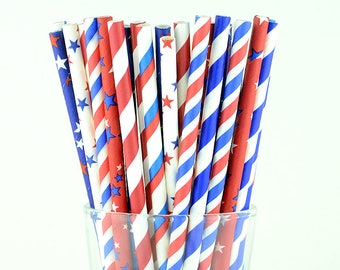 Red/ Blue/ White Mix Paper Straws - Striped/ Stars - Party Decor Supply - Cake Pop Sticks - Party Favor