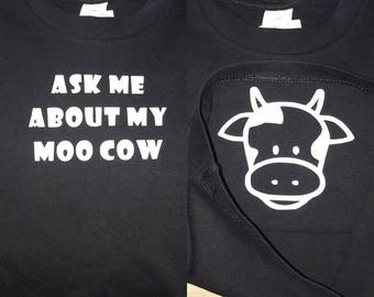 Ask me about my moo cow Tee- now with new sizes! Black or white shirt