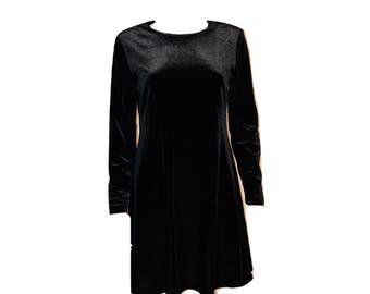 Vintage Black Velvet Dress, Velvet Shift Dress, Black Shift Dress, Black Dress