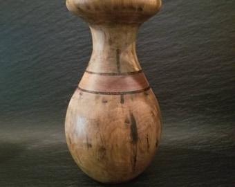 Hand turned hand made wooden vase wood vase walnut  oak stone inlay