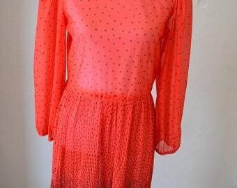 Vintage Dress Red Black Polka Dot Pleated Medium Large 1960s
