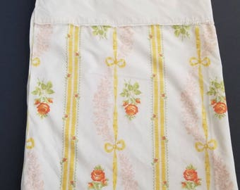 Vintage JC Penny Yellow Cream Orange Floral Ribbon Eyelet Trim Sheet Double Full