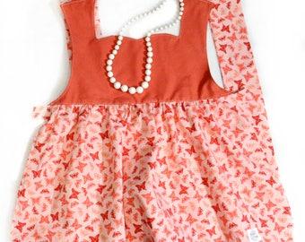 Princess Apron - Pink/Coral Butterflies - Kid's, Child's Apron - Preschool, Toddler - Costume, Dress-Up