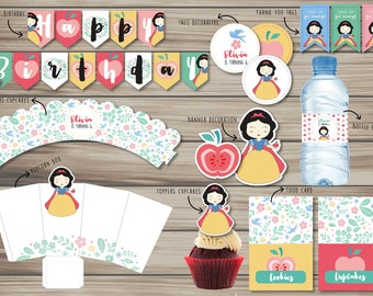 Snow White Party Printable - Party Package - Snow White Party Supplies - Kit printable snow white