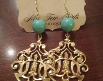 Gold Scroll Turquoise Bead Earrings
