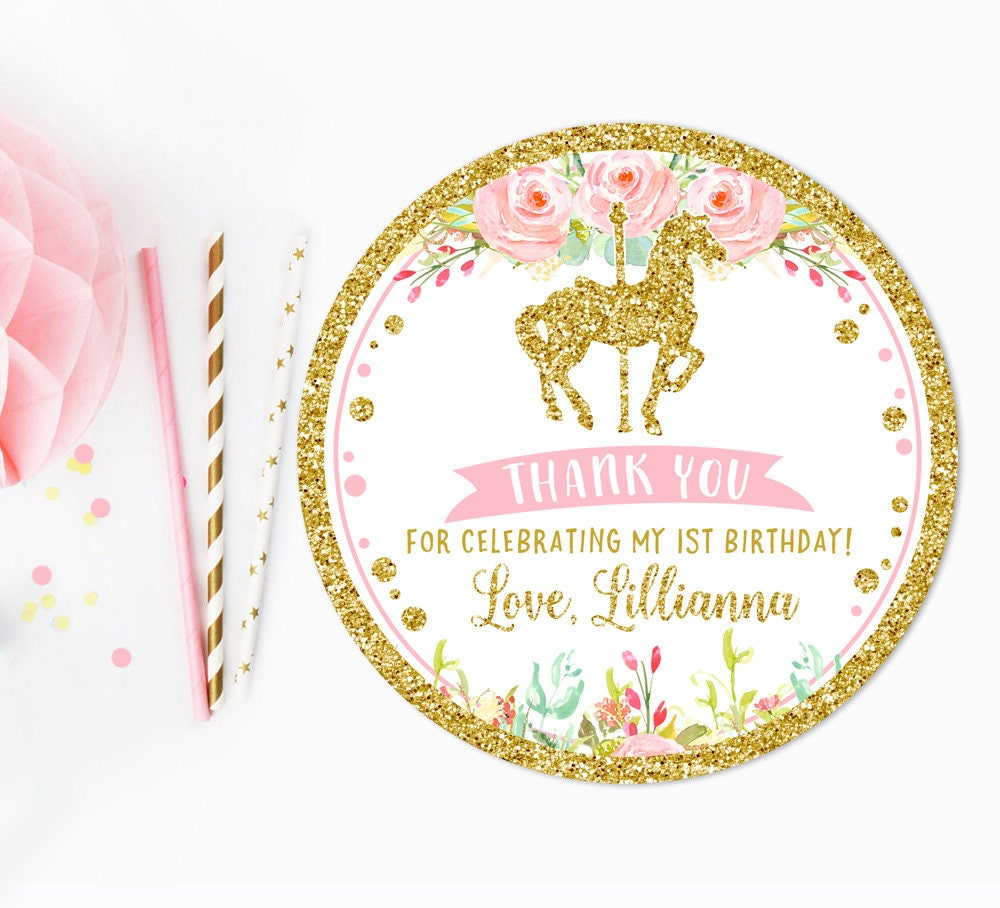 Carousel thank you tag, Pink and gold, baby shower favor