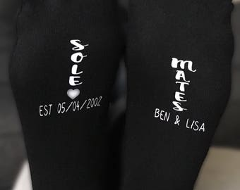 Personalised couples socks,  soul mates, cute  Valentine's Day , anniversary, birthday wedding gift with names and date added