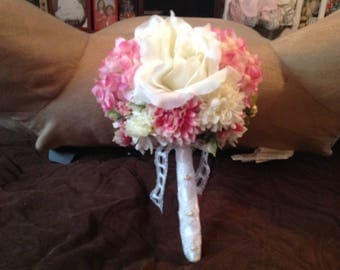 Ready to Ship pink and white wedding/bridal decorative silk flower bouquet, embellished with gems and pins and a ribbon, lace wrapped handle