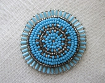 Vintage Beaded Pin - Turquoise Colored Blue Beads