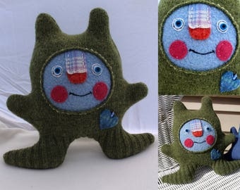 Greemby - wool handmade stuffed toy from recycled sweater