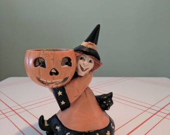 Vintage Halloween MCF Cast Iron Doorstop Witch and Black Cat