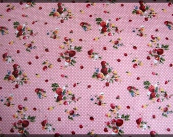 Sheet of self-adhesive fabric A4 printed strawberry green peas pink red green yellow white