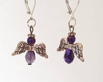 Purple dangling earings
