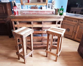 Rustic Bar stools, Handmade from reclaimed pallet wood, Unique,retro, steampunky