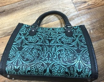 Black and Turquoise Hand Carved Leather Handbag