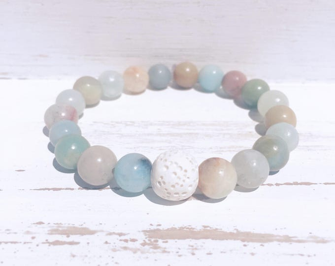 White Lava Rock and Amazonite Beaded Diffuser Bracelet for Essential Oils