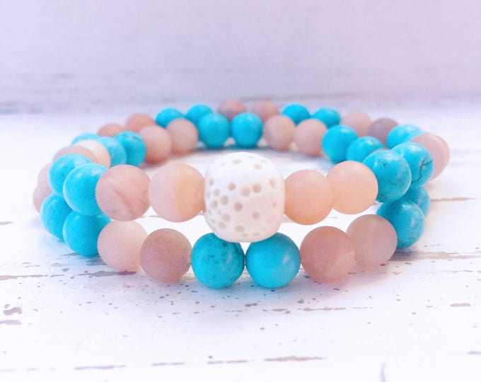 Whte Lava Rock and Blue Turquoise Beaded Wrap Diffuser Bracelet for Essential Oils