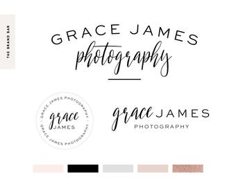 Rose gold Logo Design / Branding Package / Custom Logo / Watercolor Logo Design / Photographer Logo / Squarespace / Watermark  Feminine Logo