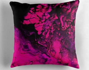 Original Art Print Throw Cushion. Pre Order, Custom Order. Pink Darkness.