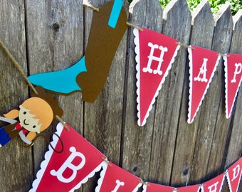 Cowgirl Birthday Banner, Cowgirl Banner, Red and White Banner, Cowgirl Boot Banner, Birthday Banner, Western Theme, Western Banner