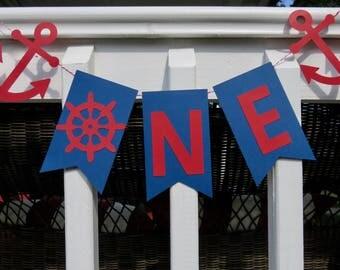 Nautical First Birthday Banner, Nautical Banner, Nautical Birthday Banner, Nautical One Banner, Anchor Banner, Anchor First Birthday Banner