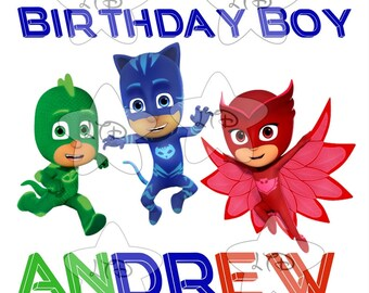 PJ MASKS Birthday Boy Personalized Iron On Transfer