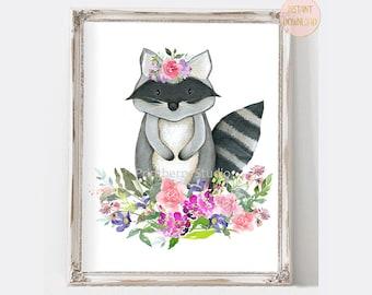Animal Nursery Wall Art, Raccoon Watercolor Nursery Print, Woodland Nursery Art, Instant Download Nursery Art