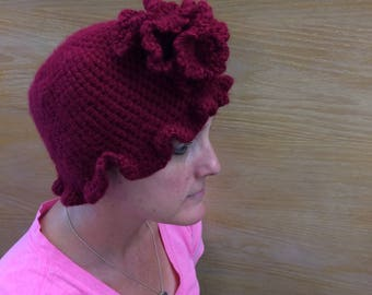 Crocheted Ladies' Hat with Flower and Ruffled Edge