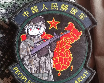 China Army anime waifu PLA-chan People's Liberation Army morale patch for Airsoft & Milsim