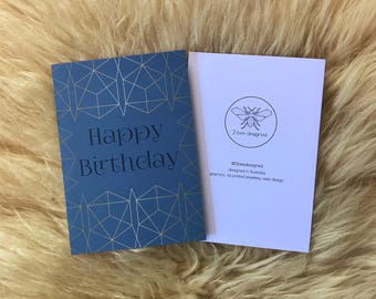 Geometric Gold and Royal Blue Birthday Card