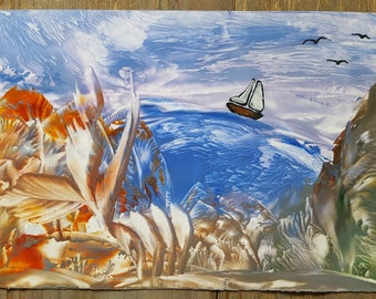 was wax encaustic picture boat painting