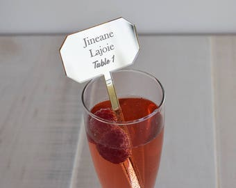 Mirrored Acrylic Drink Stirrers - Nameplate | Seating Card | Parties | Events | Holidays | Wedding | Engagement | Shower | Decor | Laser Cut