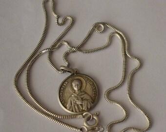 San Martin de Porres, silver medal solid chain, pendant with relic of BTO. MARTÍN de PORRES