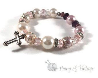 Elastic Beaded Bracelet - Cross Charm - Pink - Purple - Silver - Customizable