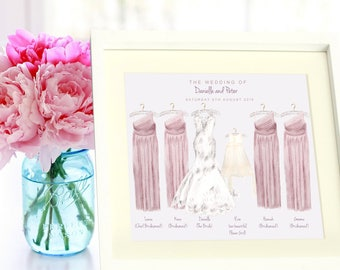 Personalised bride and bridesmaid dresses illustration/wedding/engagement/thank you present/custom illustration from your photo