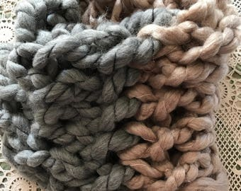 Chunky & Soft Beige and Grey Infinity Scarf Giving You Perfect Color To Complement Your Outfit Warm Cuddly and Chic