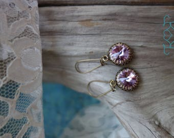 Lavender Swarovski Crystal Earrings
