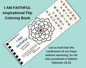 Coloring book, I AM FAITHFUL, Flip Coloring book, Activity book, Handmade, Color Book