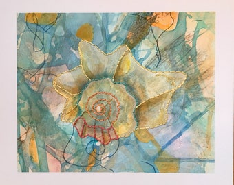 Shell Giclee with hand embroidery, #SGP 2