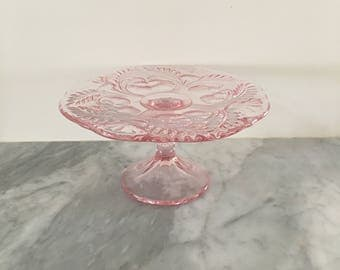 Blush Cake Plate w/ Antique look and engravings By Mosser Glass