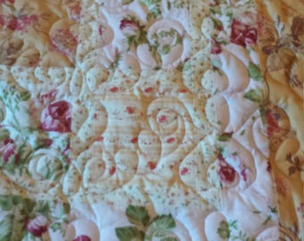 Handmade full size quilt, pink roses, shades of sunglow yellows & golds, and quilted hearts, romantic heart quilt, vintage quilted feel.