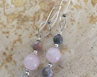 Silver Pink Beaded Earrings