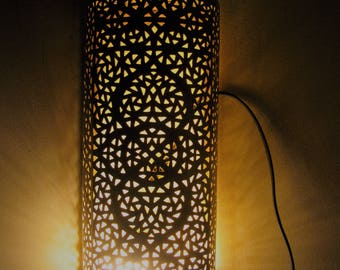 "Moroccan Wall Decor Lamp rectangular Carved & Hammered Patina Brass Sconce 14 "" Medium"