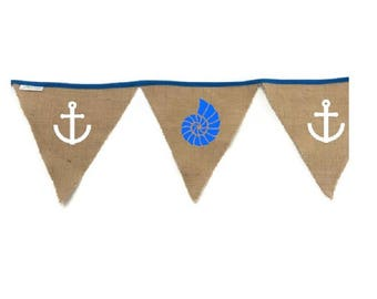 Navy shell/anchor burlap Bunting