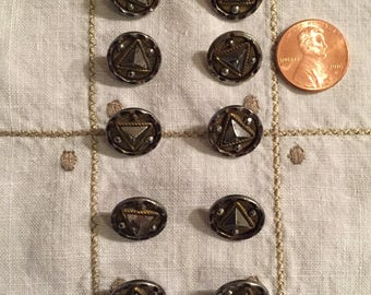 Vintage Steel Cut Buttons Set of 10