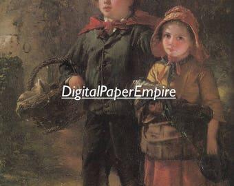 DIGITAL DOWNLOAD - Antique Victorian Children Image, Scrapbook supply, Digital Ephemera, Digital Paper