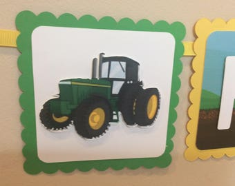 John Deere Tractor Theme Birthday Party Banner/Party Decorations/gardening/John Deere theme/from Stinky Feet Party