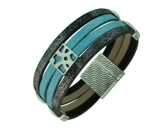 Sparkly blue Brown Leather Bracelet, sky blue vegan leather cuff, busy openwork square pearl bracelet, magnetic clasp bracelet
