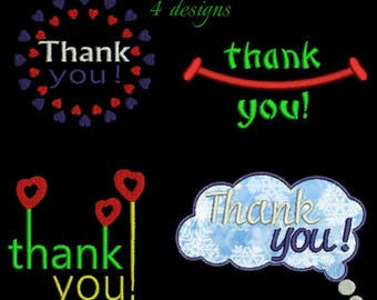 Thank you Embroidery Designs Machine digital instant download pattern in the hoop file t-shirt towel designs