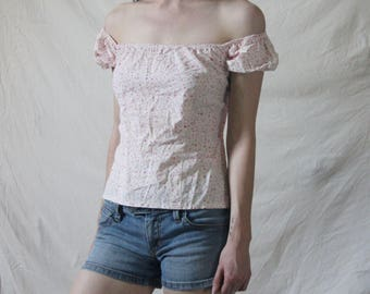 90s Flower Peasant Top, Corset Back XS/S